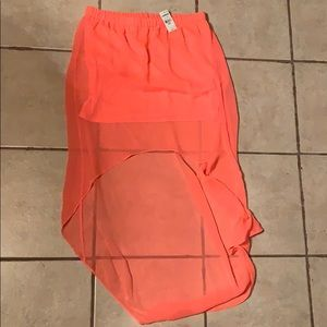 Express high-low coral skirt